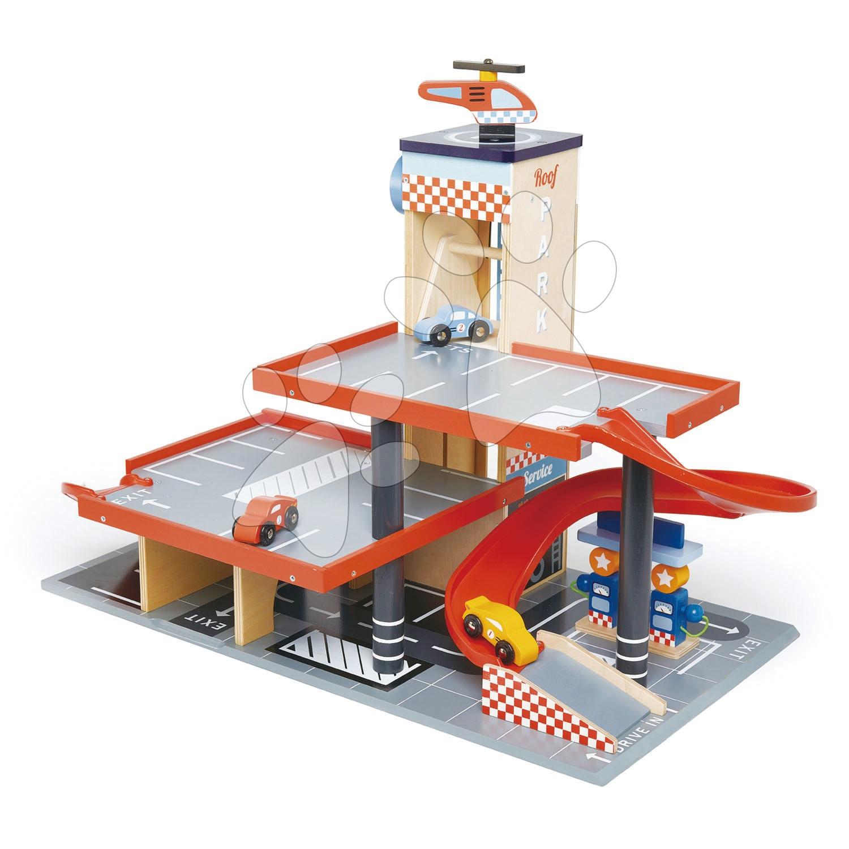 Drevená poschodová garáž Blue Bird Service Station Tender Leaf Toys s 3 autami a helikoptérou