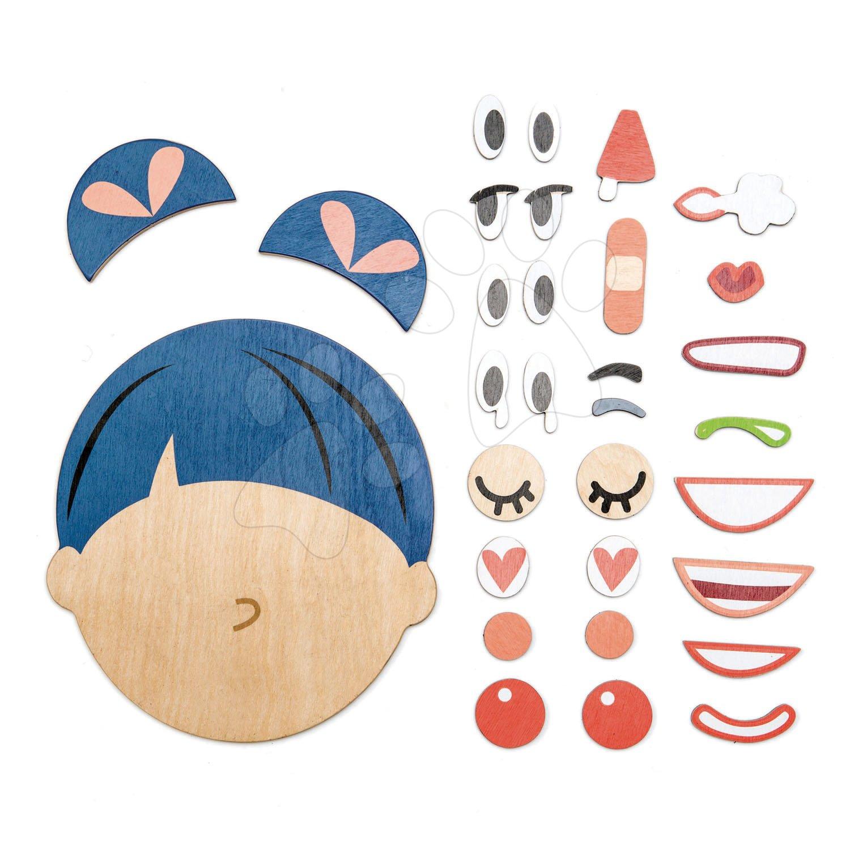Drevená skladacia hlava What's Up? Tender Leaf Toys 32-dielna súprava s doplnkami na vyjadrenie výrazu