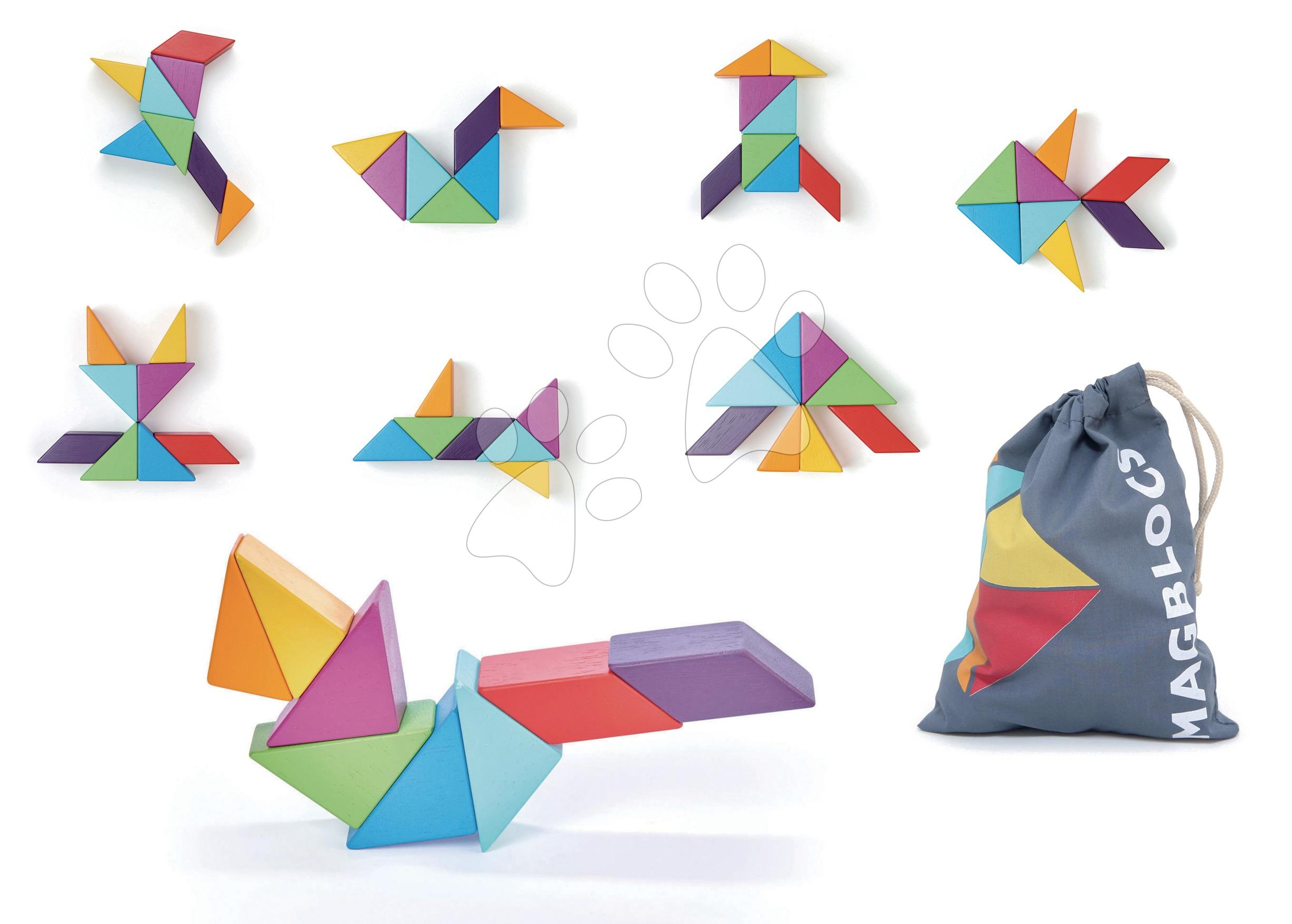 Drevená magnetická stavebnica Designer Magblocs Tender Leaf Toys 8 trojuholníkových tvarov vo vrecku