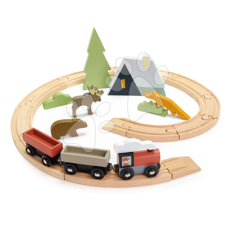 Drevená vláčikodráha v horách Treetops Train Set Tender Leaf Toys s vlakom zvieratkami a chatou