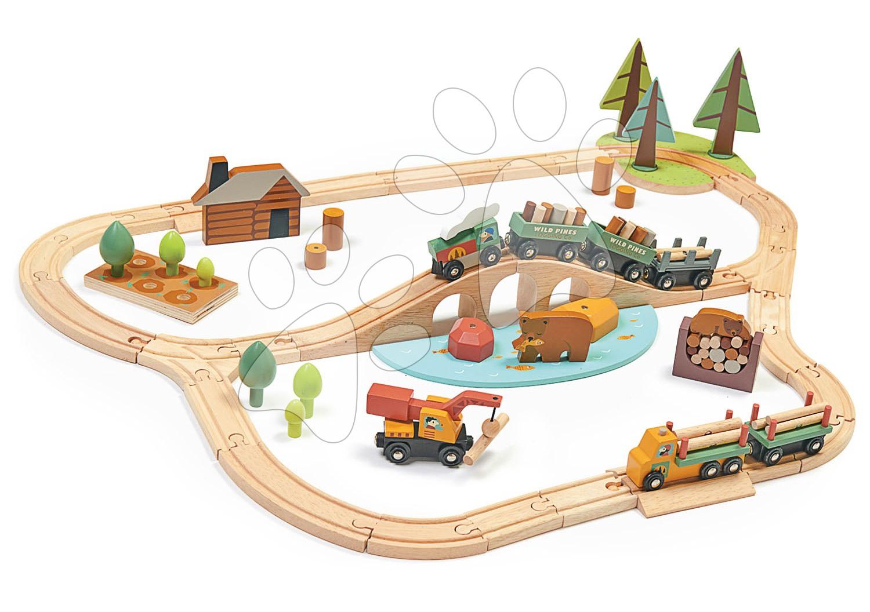 Drevená vláčikodráha v borovicovom lese Wild Pines Train set Tender Leaf Toys s vlakom a autami zvieratká s prírodou