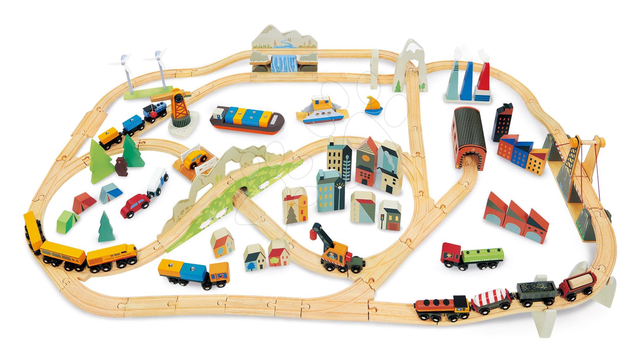 Drevená vláčikodráha vysokohorská Mountain View Train Set Tender Leaf Toys cesta okolo sveta cez mesta a hory 58 dielov a doplnky