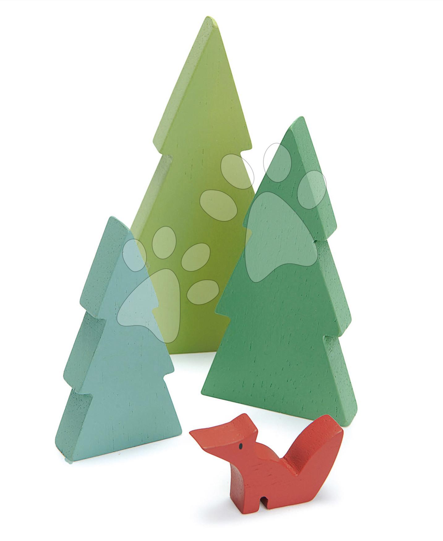 Drevené ihličnaté stromy Fir Tops Tender Leaf Toys tri druhy s líškou