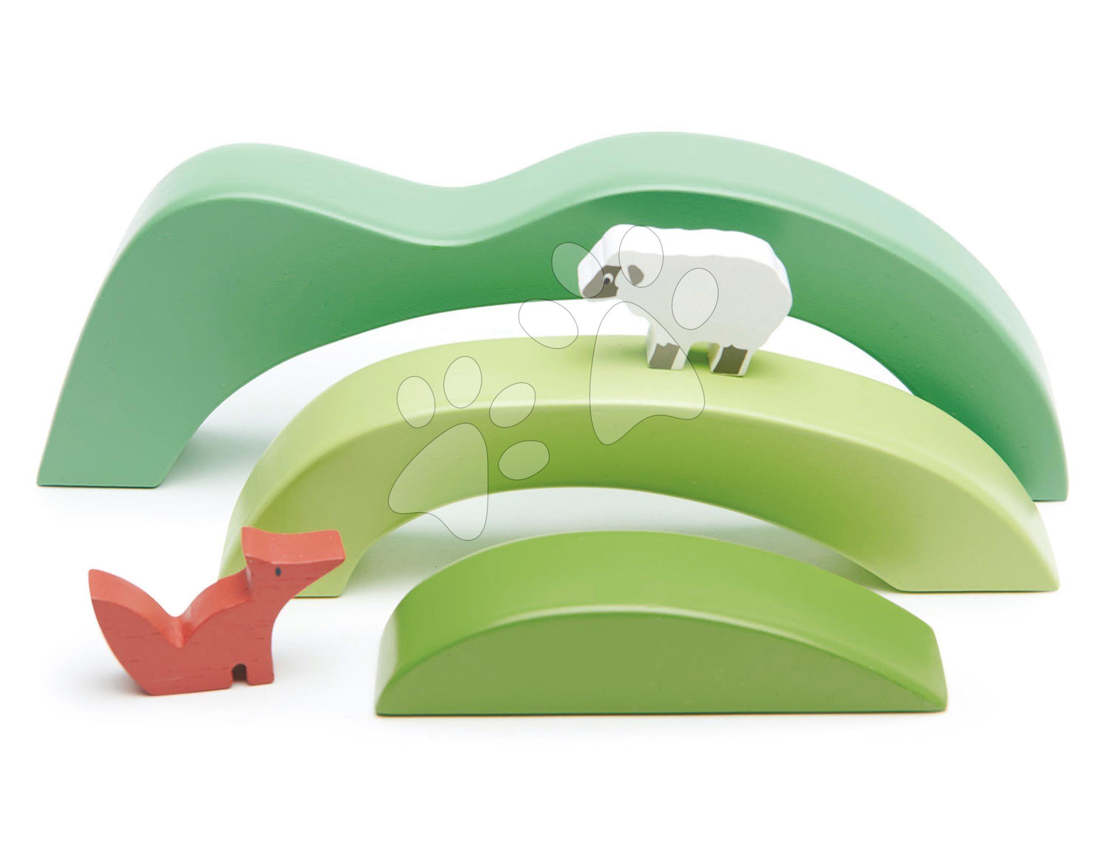 Drevené kopce a dolinky Green Hills View Tender Leaf Toys s troma vlnkami a ovečka s líškou