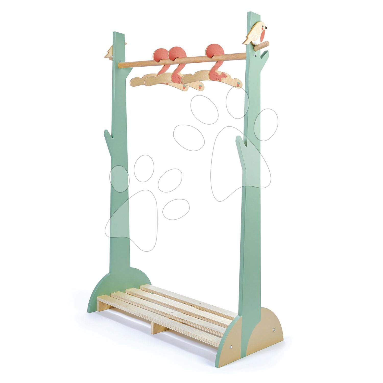 Drevený detský šatník Forest Clothes Rail Tender Leaf Toys s 3 vešiakmi a vtáčikmi