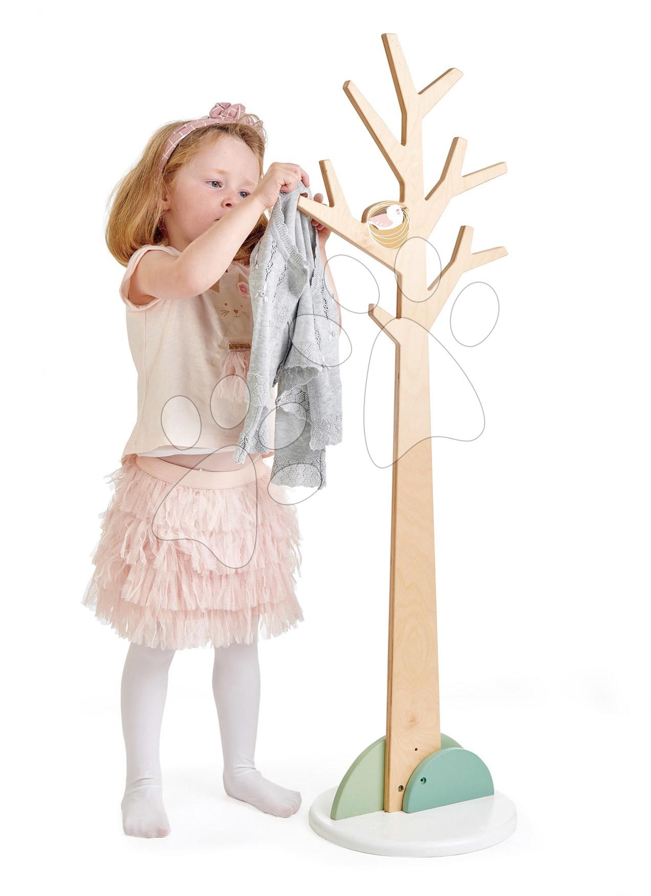 Dřevěný věšák strom s větvemi Forest Coat Stand Tender Leaf Toys s ptačím hnízdem