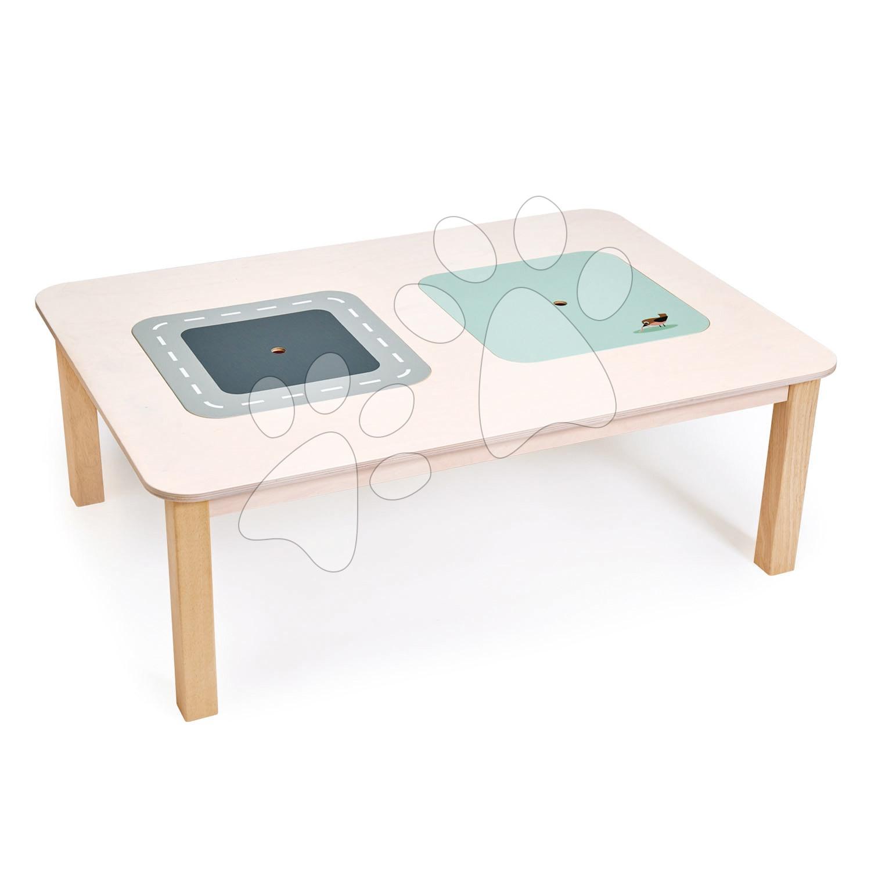 Drevený stôl obdĺžnikový na hranie Play Table Tender Leaf Toys s úložným priestorom s vtáčikom