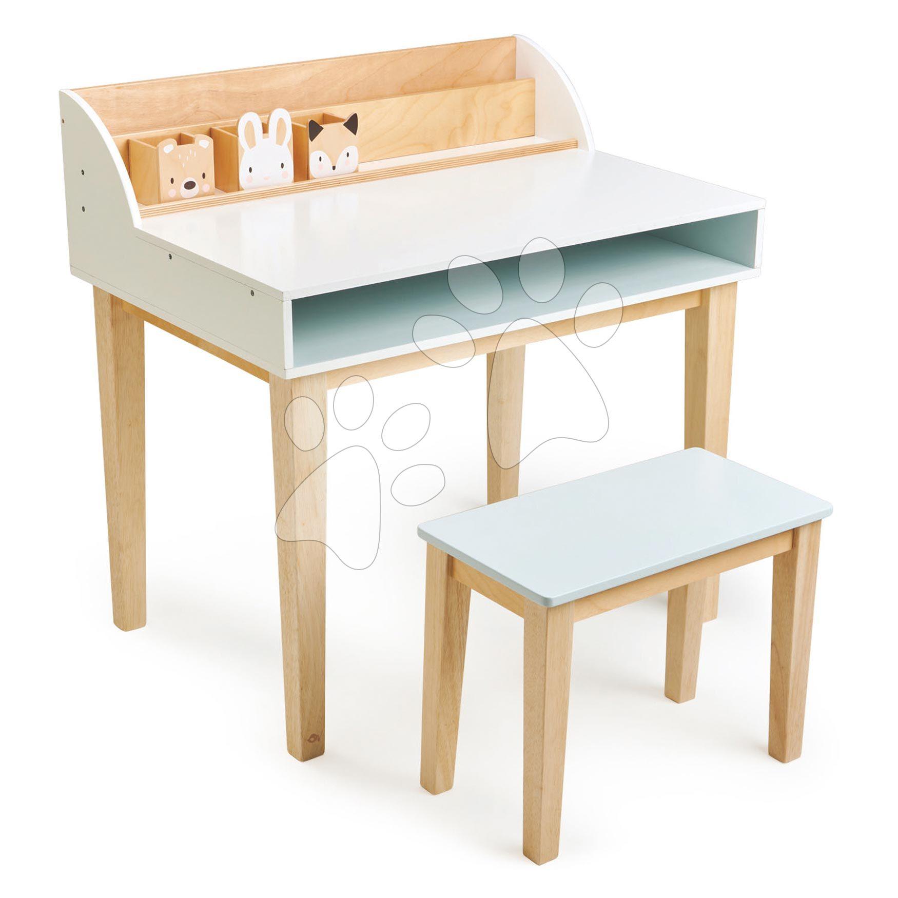 Drevený stôl so stoličkou Desk and Chair Tender Leaf Toys s úložným priestorom a 3 odkladacie nádobky so zvieratkami