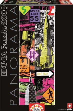 Panoramske puzzle - Puzzle Panorama New York Pop Art Educa 2000 delov