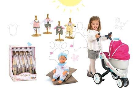 SMOBY 550192A-4 kočík Maxi Cosi & Quinny 3v1 pre bábiku+bábika BabyNurse 32 cm + tri šatôčky
