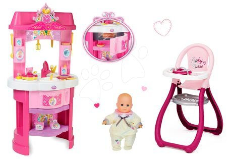 Princese - Set kuhinja Disney Princeze Smoby sa satom i sjedalicom za hranjenje s lutkom