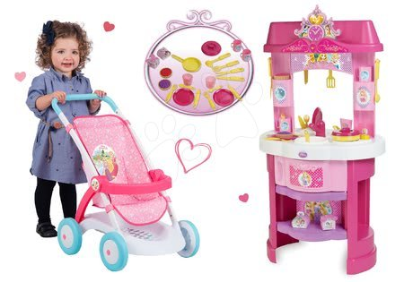 Set kuchyňka Disney Princezny s hodinami a sportovní kočárek pro panenku Pastel