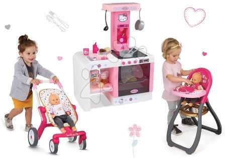 Set bucătărie de jucărie Hello Kitty Cheftronic Smoby cu sunet, cărucior de sport buggy(mâner de împins 53,5 cm) şi scaun de masă pentru păpuşa de jucărie