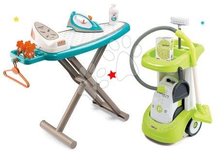 Hry na domácnost - Set úklidový vozík Rowenta Smoby s elektronickým vysavačem, žehlicí prkno, elektronická žehlička Clean