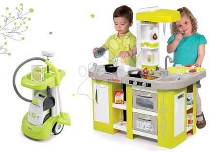 Set cărucior de curăţenie Smoby cu aspirator electronic Rowenta și bucătărie de jucărie Tefal cu sunete