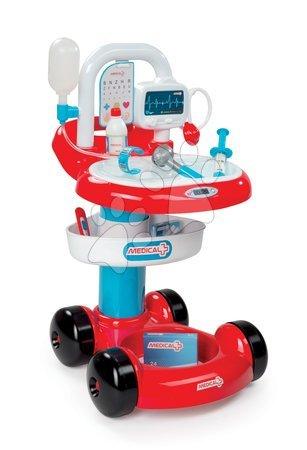 SMOBY 24422 Lekársky vozík s infúziou červený so 7 doplnkami