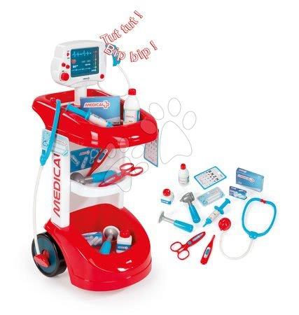 SMOBY 24475 Lekársky vozík s tlakomerom zvukový červený s 12 doplnkami