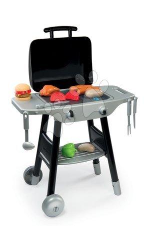 Detská kuchynka Barbecue Grill Smoby na kolieskach so 17 doplnkami čierno-strieborná
