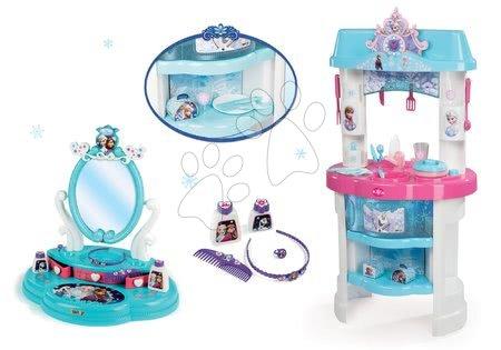 SMOBY 24498-1 bledomodrá kuchynka Frozen s trblietkami+nákupná taška na kolieskach