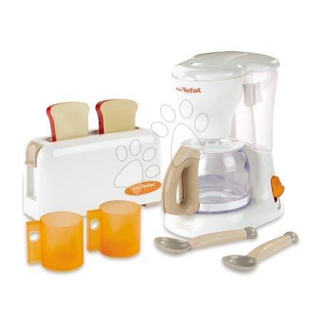 Spotřebiče do kuchyňky - Snídaňová sada s kávovarem a toaster Mini Tefal Smoby s 8 doplňky bílý