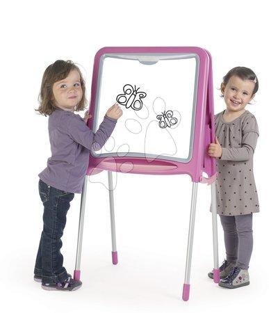 Magnetna tabla Smoby dvostranska s kovinsko konstrukcijo in 59 dodatki rožnata