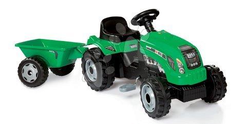 Vehicule cu pedală pentru copii - Tractor cu remorcă RX Bull Smoby verde cu pedale