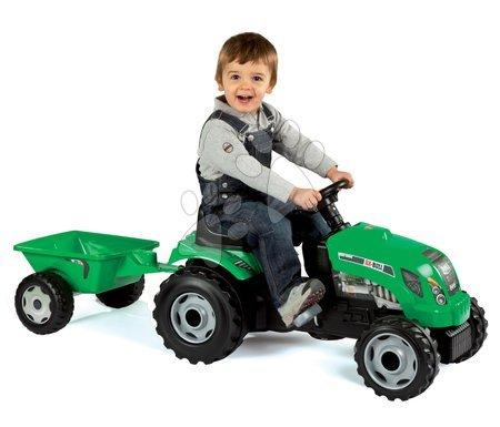 Vehicule cu pedală pentru copii - Tractor cu remorcă RX Bull Smoby verde cu pedale_1