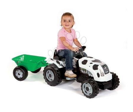 Vehicule cu pedală pentru copii - Tractor cu pedale Bull Văcuţă Smoby cu remorcă negru-alb