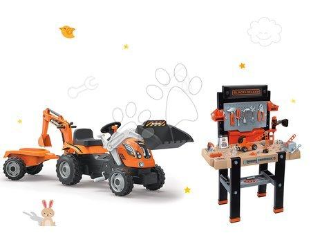 Delavnica Black-Decker Smoby elektronska in traktor Builder Max z bagrom in nakladalcem