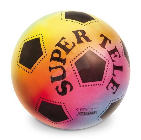 Sportlabdák - Focilabda szivárványos BioBalls Supertele Mondo gumiból 23 cm