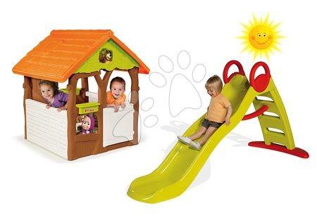 Set domček pre deti Máša a medveď Smoby s kvetináčom a šmykľavka Toboggan Funny vlnkovitá s dĺžkou 2 m od 2 rokov