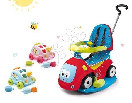 Set odrážedlo Maestro Confort Smoby s houpačkou Smoby a vkládací autíčko Cotoons od 6 měsíců