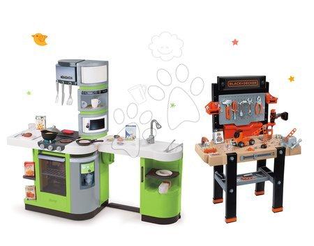 Set masă de lucru Black+Decker Smoby electronic şi bucătărie de jucărie CookMaster Verte cu sunet