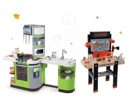Black & Decker - Set pracovní dílna Black&Decker Smoby elektronická a kuchyňka CookMaster Verte se zvuky