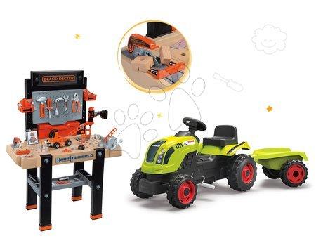 Set bancă de lucru Black+Decker Smoby şi tractor cu pedale Claas Farmer XL Broască