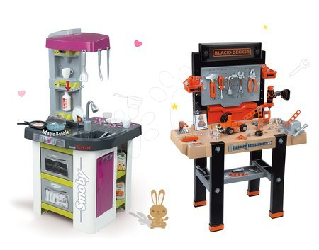 Black & Decker - Set dílna Black&Decker Smoby elektronická a kuchyňka Tefal Studio BBQ s magickým bubláním