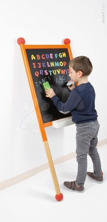 Janod - Dřevěná školní tabule Janod oboustranná, magnetická s gumovými opěrkami a 30 doplňky od 3 let