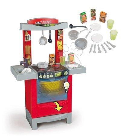 Kuchynka pre deti Tefal Cook'Tronic Smoby elektronická so zvukmi, svetlom a 16 doplnkami červená