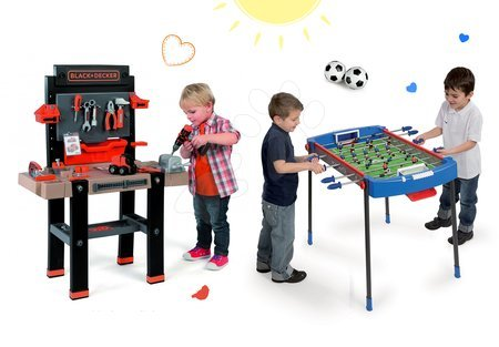Set pracovní dílna Black+Decker Smoby s vrtačkou a fotbalový stůl Challenger s míčky