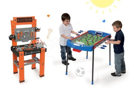 Black & Decker - Set dílna Black+Decker Smoby a fotbalový stůl Challenger s 2 míčky