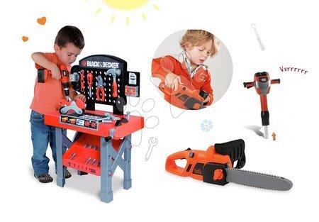 Pracovní dětská dílna - Set pracovní dílna Black&Decker Smoby s mechanickou vrtačkou a elektronická motorová pila
