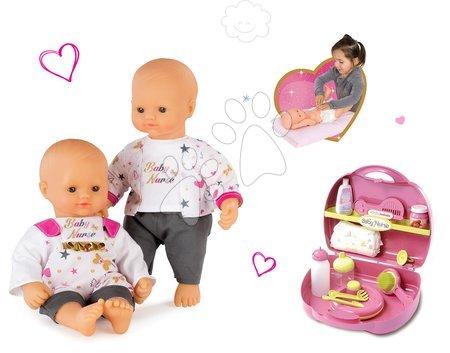 Bábiky s doplnkami sety - Set bábika Baby Nurse Zlatá edícia Smoby 32 cm a prebaľovacia sada pre bábiku v kufríku od 24 mes