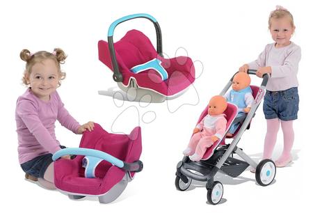 Set kočík pre dve bábiky Maxi Cosi & Quinny Smoby (rúčka 65,5 cm) a autosedačka
