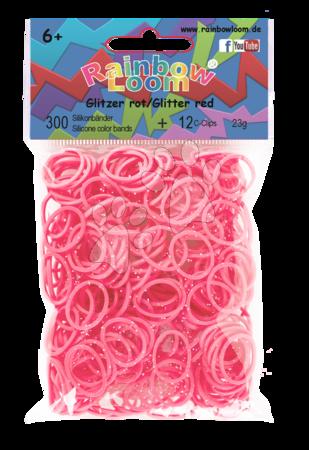 Rainbow Loom originálne trblietavé gumičky 300 kusov červené od 6 rokov