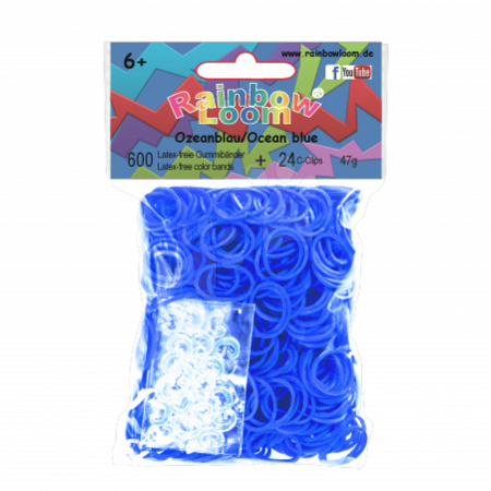 Rainbow Loom eredeti gumik 600 darab óceánkék