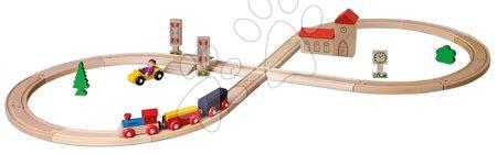 Fa gyerekjátékok - Fa vasúti sínpálya Train Figure-of 8 Railway Eichhorn mozdony 2 vagonnal és kiegészítőkkel 35 darabos 290 cm hosszú vasútvonal