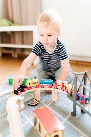 Eichhorn - Drvena željeznica sa stanicom Train Set with Bridge Eichhorn s lokomotivom 2 vagona, mostom i dodacima 54 dijelova 450 cm dužina tračnica_1