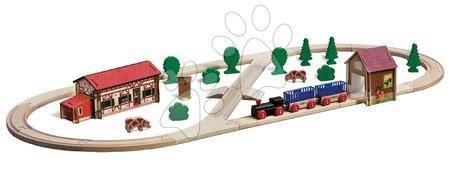 Eichhorn - Drvena željeznica s farmom i tunelom Train Set Farm Eichhorn s vlakom 35 dijelova dužina pruge 360 cm