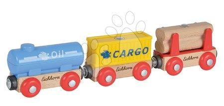 Piese de schimb cale ferată Train Wagons Eichhorn trenuleț cu 3 vagoane de marfă 5 piese 24 cm lungime de la 3 ani