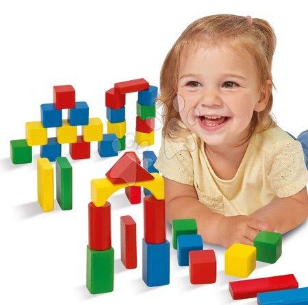Dřevěné stavebnice - Dřevěné kostky Wooden Toy Blocks Eichhorn barevné 85 dílů v různých tvarech od 12 měsíců_1
